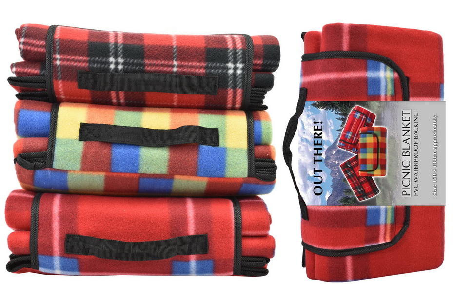 """1.5 x 1.3m Waterproof Fleece Picnic Blanket """"Out There"""""""