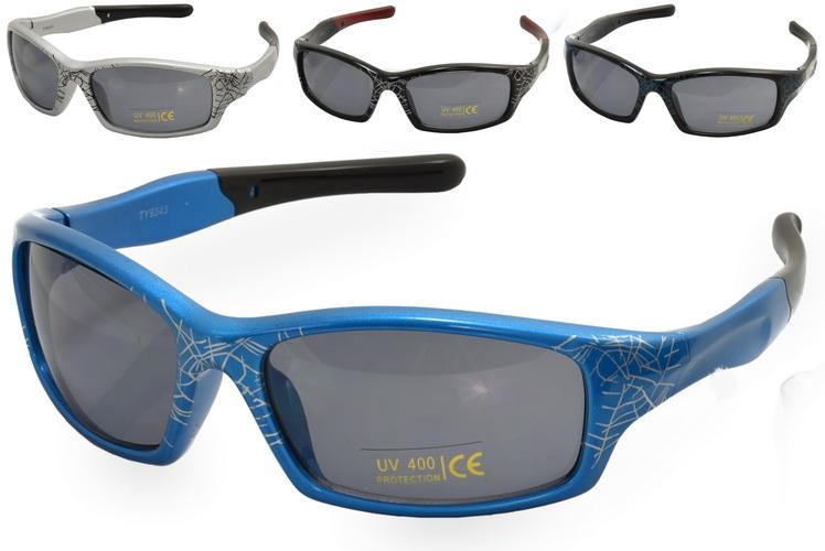 Kids Plastic Spider Web Print Wrap Sunglasses - 4 Asst