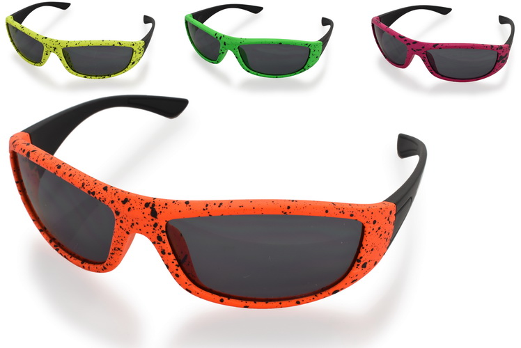 Kids Plastic Black Dot Frame Wrap Sunglasses - 4 Asst