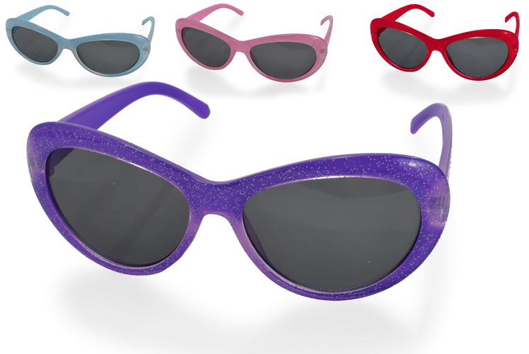 Girls Plastic Glitter Sunglasses - 3 Assorted