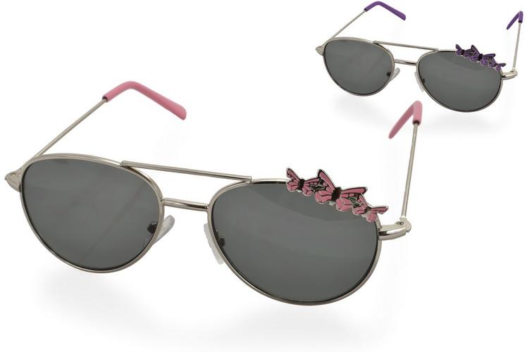 Girls Metal Frame Sunglasses With Butterfly - 2 Asst