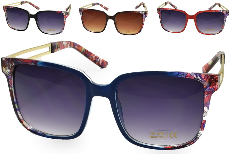 Ladies Metal Arm Sunglasses - 4 Assorted