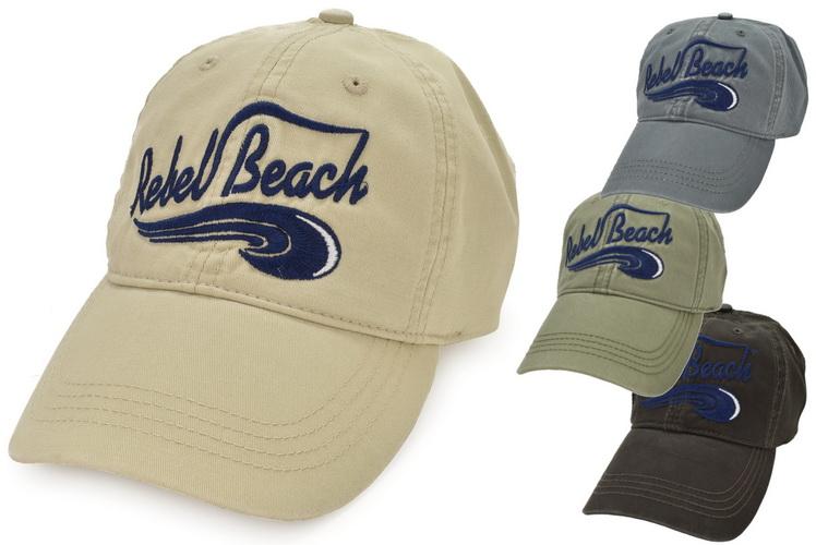 Cotton Baseball Cap Washed Rebel Beach Metal Fast 4asst