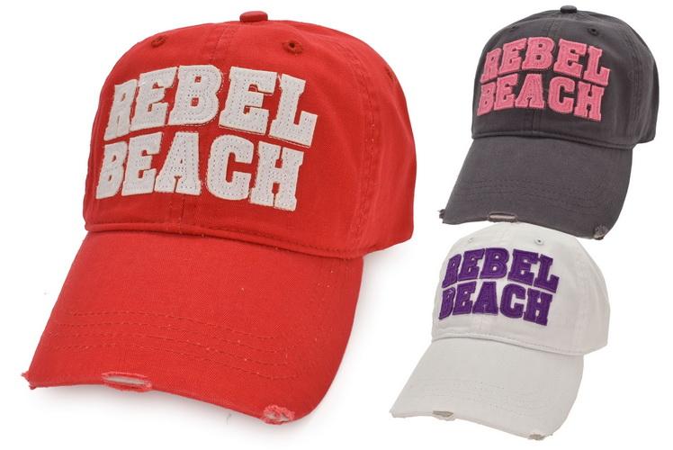 Cotton Baseball Cap Washed Rebel Beach Metal Fast 3asst