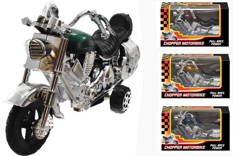 Plastic Pull-Back Chopper Motorbike In W/Box & D/Box