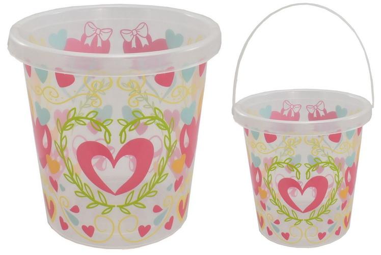 "7"" Heart Print Bucket"