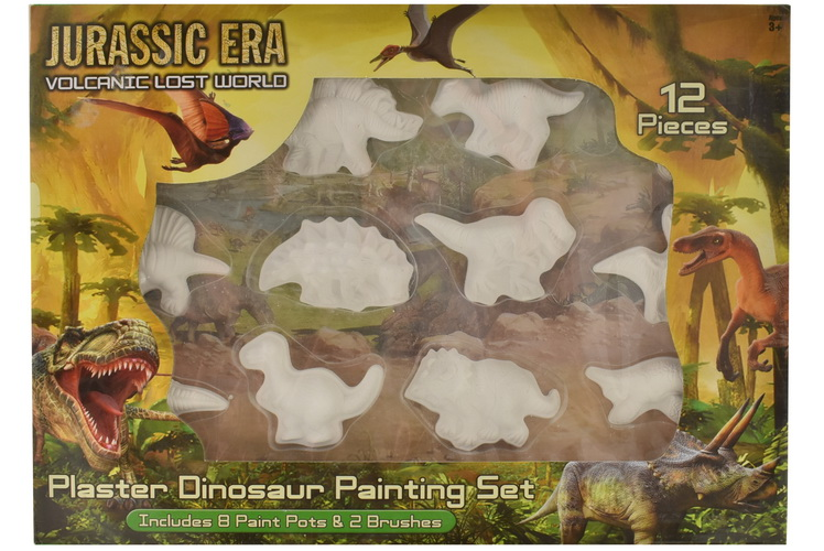 12pc Dinosaur Plaster Painting Set In Window Box