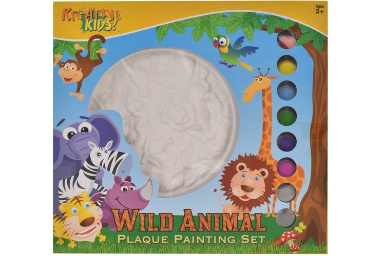 Wild Animal Plaque Plaster Painting Set In Window Box