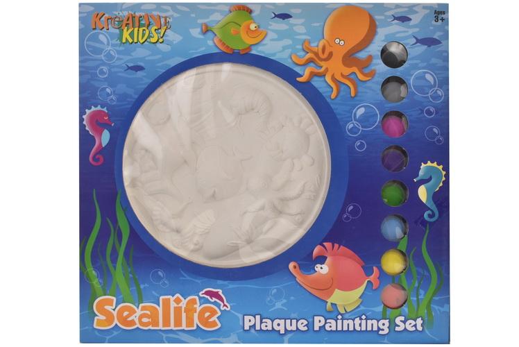 Sea Life Plaque Plaster Painting Set In Window Box