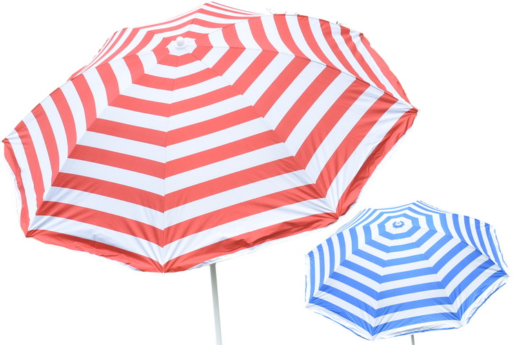 "34"" Rib Uv Beach Parasol (2 Asst) With Tilt In Pvc Bag"