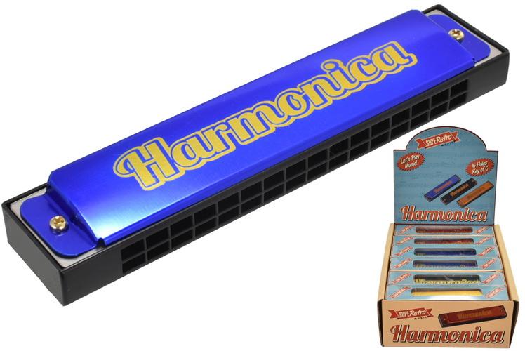 "Harmonica 16 Hole 4 Assorted Colours ""Retro"" Wbx Dbx"