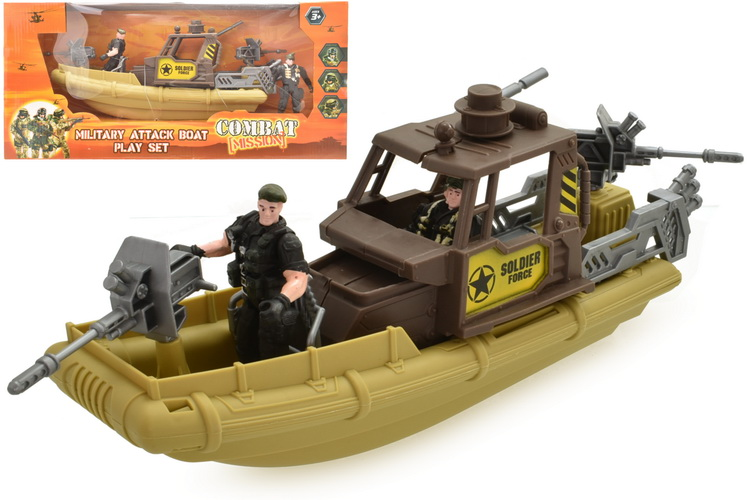 "Military Attack Boat Playset ""Combat Mission"" In Wbx"