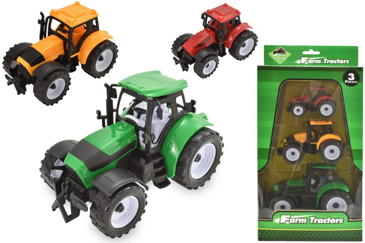 3pc Plastic Tractors In Colour Window Box
