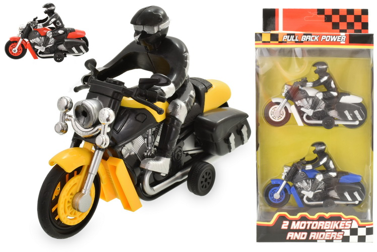 2pc Motorbike And Rider In Window Box