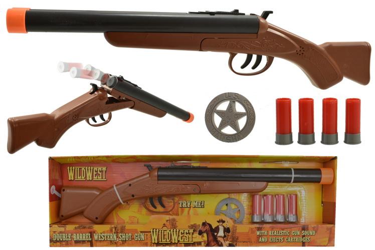 "Double Barrel Western Shotgun ""Try Me"" - Open Touch Box"