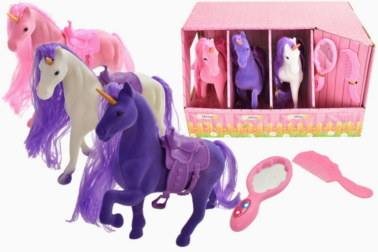 3pc Flock Unicorns & Accessories In Stable Box