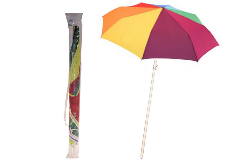 "34"" Rib Uv Beach Parasol With Tilt In Pvc Bag"