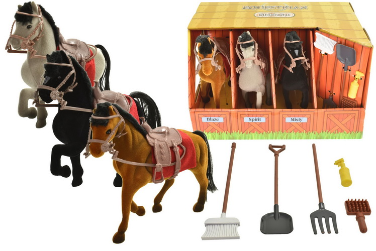 3pc Flock Horses In Stable Box - Equestrian