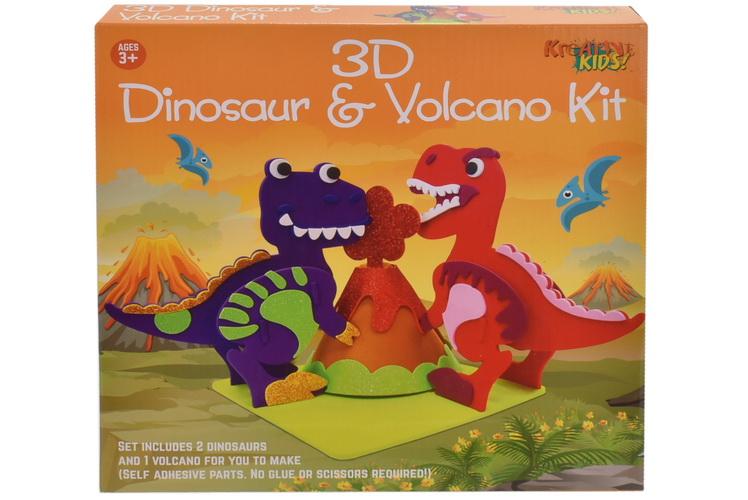 3d Foam 2pc Dinosaur & Volcano Kit In Colour Box