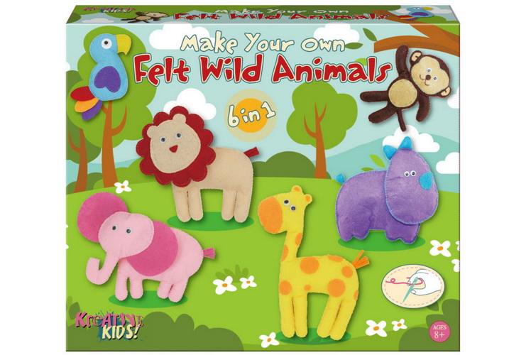 Make Your Own Felt 6-In-1 Wild Animals Playset Col/Bx