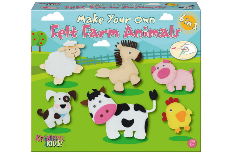 Make Your Own Felt 6-In-1 Farm Animals Playset Col/Bx