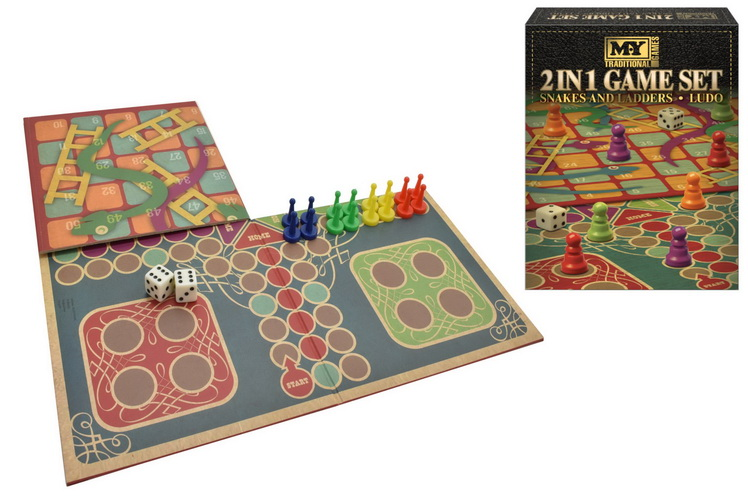 2-In-1 Snakes & Ladders And Ludo Game Set In Colour Box