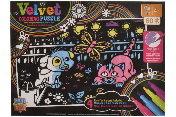 60pc Velvet Art Colouring Puzzle Set In Colour Box