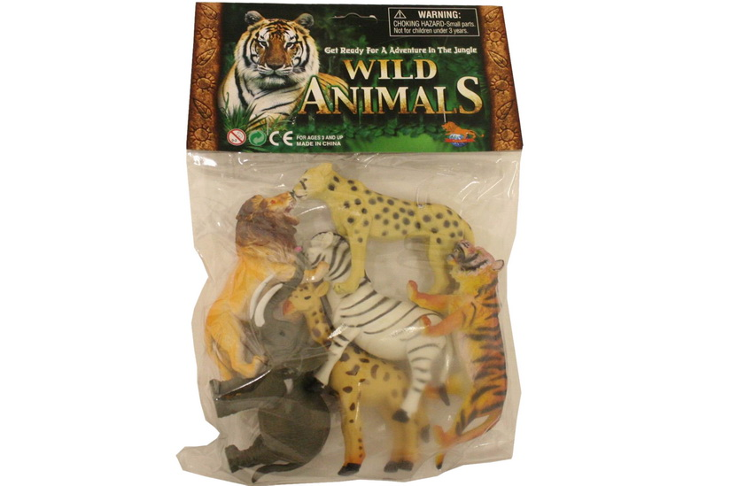 "6pc Wild Animals (4"") In Pvc Bag/Header"