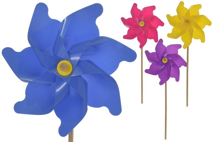 30cm Solid Colour Windmill 60cm Wood Shaft 4 Asst Asmbl