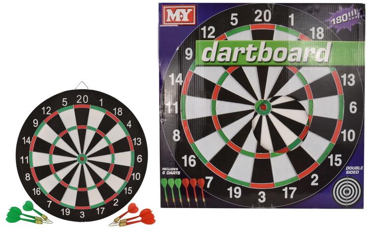 """17"""" Dart Board 6 Darts In A Colour Box """"M.Y"""""""