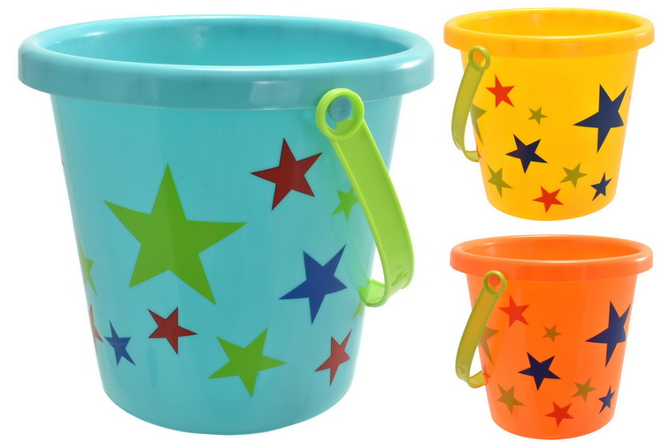 Meduim Round Star Print Bucket 3 Assorted Colours