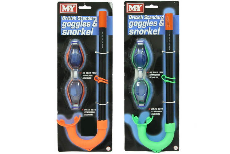 """M.Y"" British Standard Goggle & Snorkel Set On Tie Card"