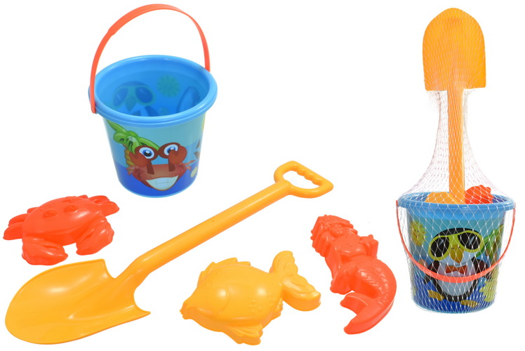 5pc Blue Bucket  Spade & Mould Sets - Netted