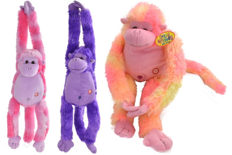 """Long Arm Monkey With Sound """"Try Me"""" - 3 Assorted Colour"""