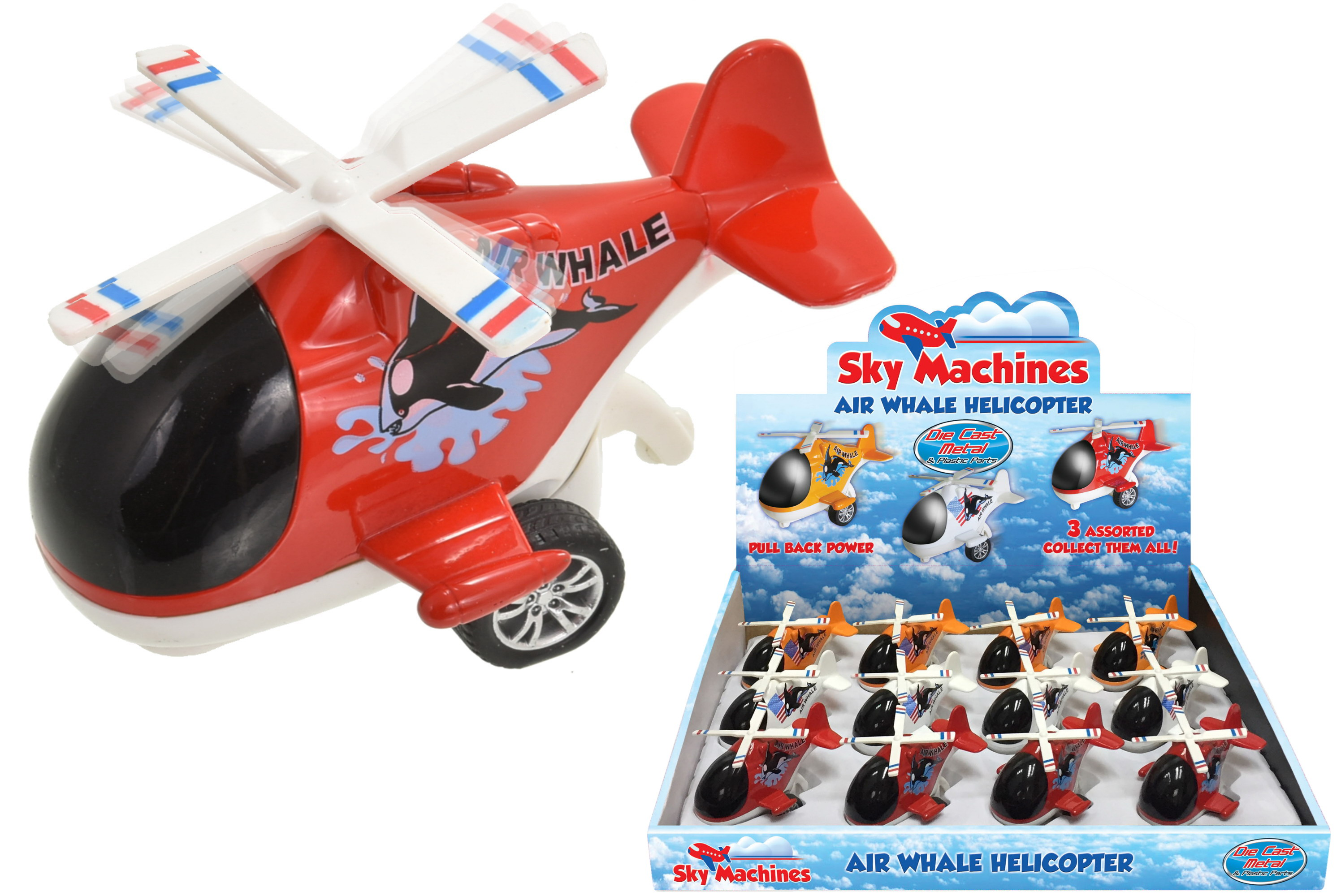 Friction Air Whale Die Cast Helicopter