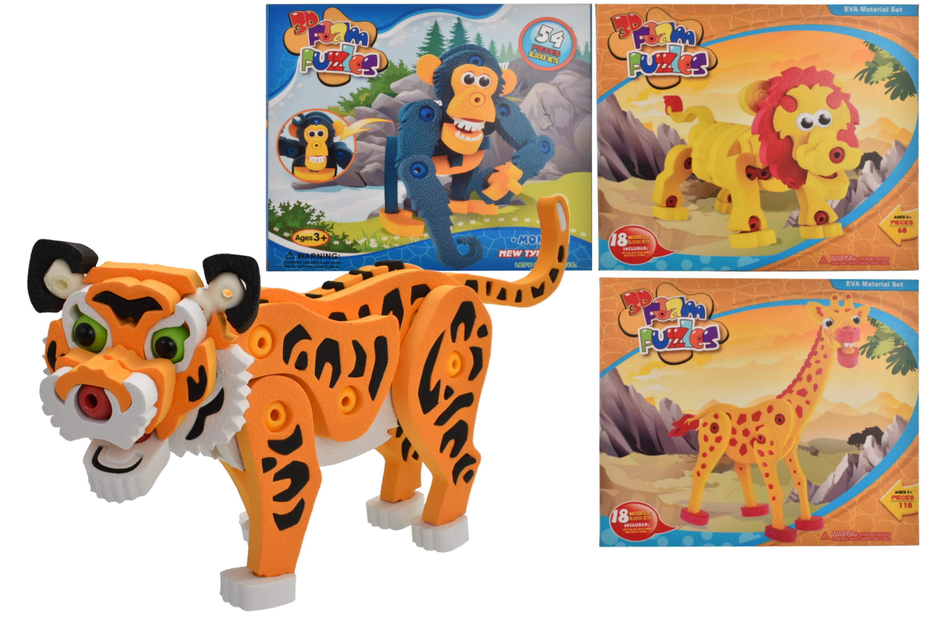 Wild Animal Foam Puzzle Sets (4 Assorted) - Colour Box