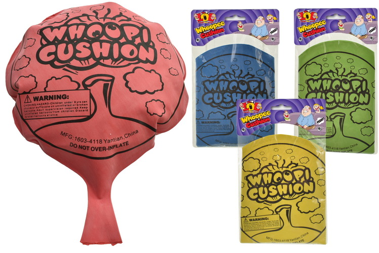 "8"" Large Whoopee Cushion (4 Assorted) Bag/Header"